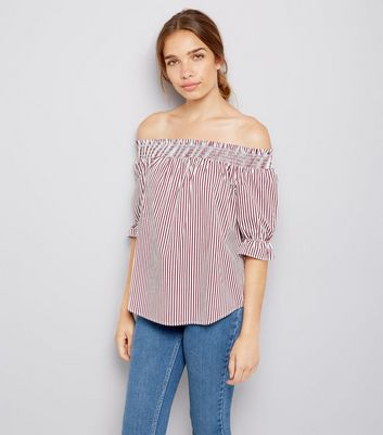 Red Stripe Shirred Bardot Neck Top