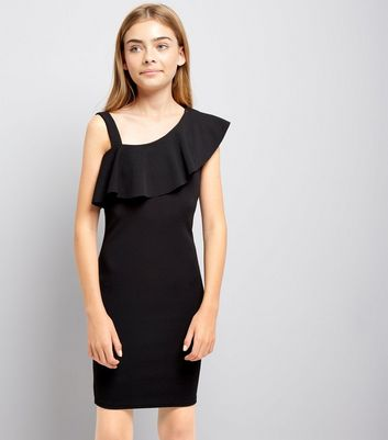 Teens Black Asymmetric Frill Bodycon Dress