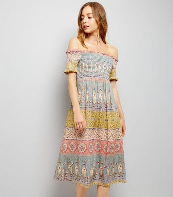 Multicoloured Stripe Shirred Bardot Midi Dress