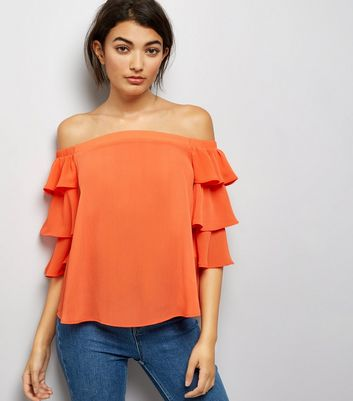 Orange Tiered Sleeve Bardot Neck Top