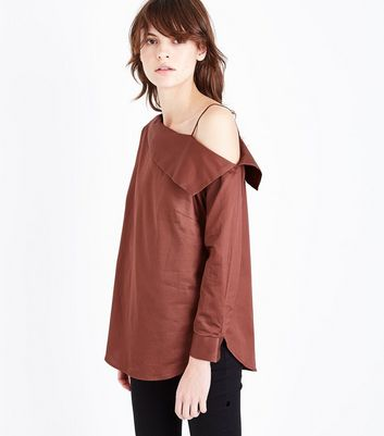 Brown Off The Shoulder Shirt