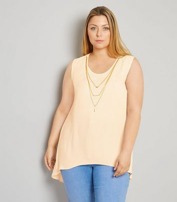 Curves Shell Pink Necklace Detail Split Back Top