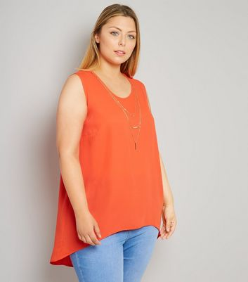 Curves Orange Necklace Detail Split Back Top