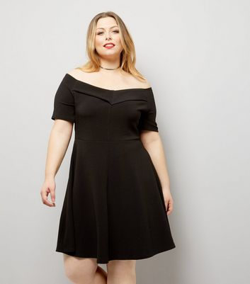Curves Black Bardot Neck Crepe Skater Dress