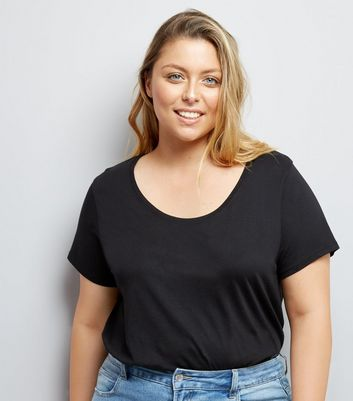 Curves Black Scoop Neck T-Shirt