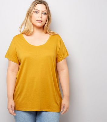 Curves Rust Scoop Neck T-Shirt