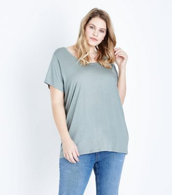 Curves Mint Green Scoop Neck T-Shirt