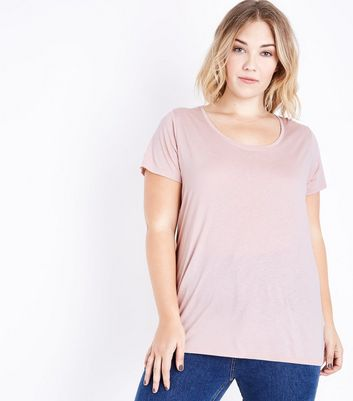 Curves Pink Scoop Neck T-Shirt