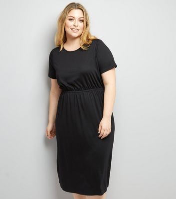 Curves Black Gathered Waist Jersey Dress