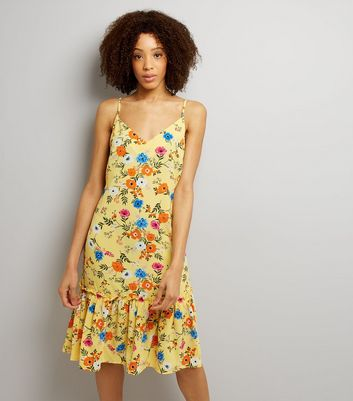 Tall Yellow Floral Print Peplum Hem Dress