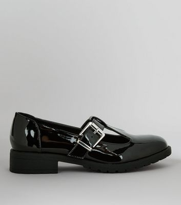 Teens Black Patent T-Bar Shoes
