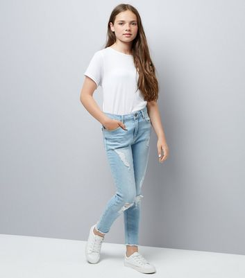 Teens Blue Extreme Ripped Jeans