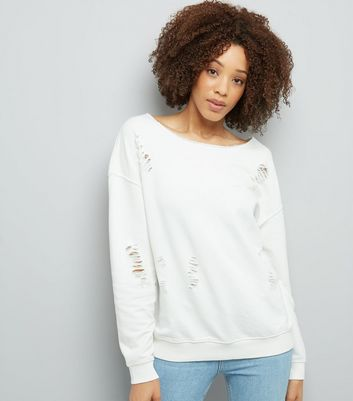 White Ripped Long Sleeve Sweater