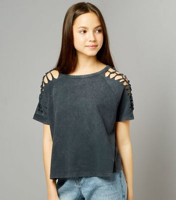 Teens Grey Acid Wash Lattice Sleeve T-Shirt