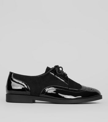 Teens Black Patent Panel School Brogues