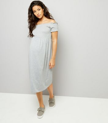 Maternity Grey Shirred Bardot Neck Dress
