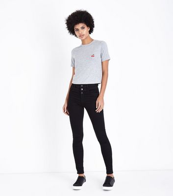 Tall Black 3 Button High Waist Skinny Jeans