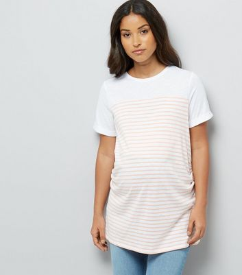 Maternity Orange Stripe Longline T-Shirt