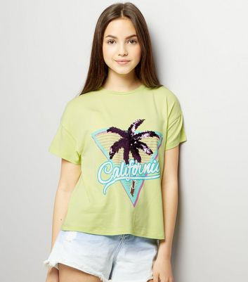 Teens Yellow Sequin Palm Tree T-Shirt