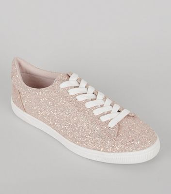 Pink Glitter Lace Up Trainers