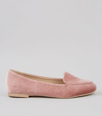 Pink Velvet Stitch Detail Loafers