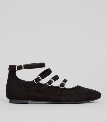 Teens Black Suedette Multi Buckle School Pumps