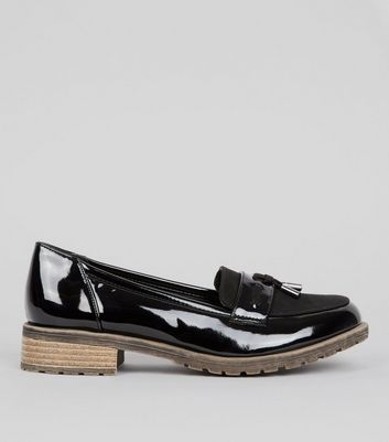 Teens Black Patent Contrast Sole School Loafers