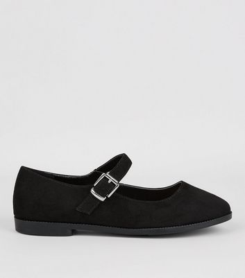 Teens Black Buckle Strap School Pumps