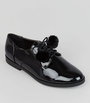 Teens Black Pom Pom Lace Up School Brogues