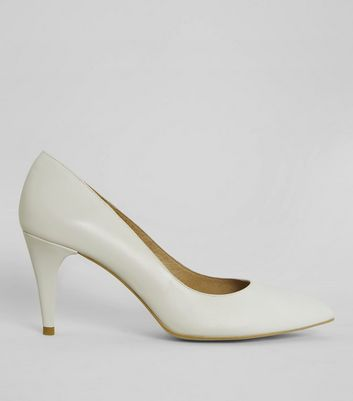 Cream Leather Pointed Heels