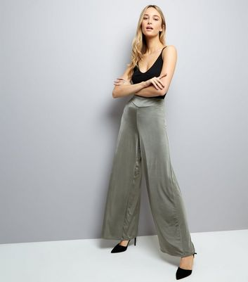 Olive Green Sateen Wide Leg Trousers