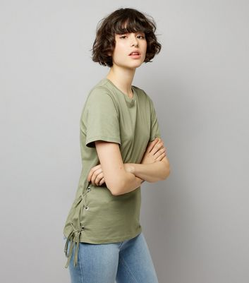 Khaki Lace Up Side T-Shirt