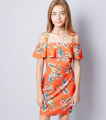 Teens Red Floral Print Cold Shoulder Dress