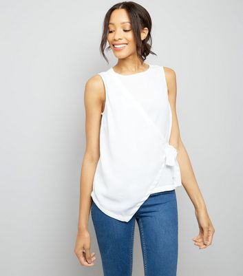 White Wrap Front Sleeveless Top