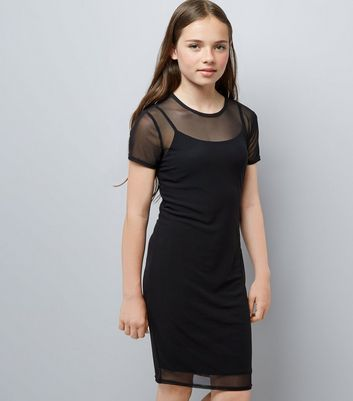 Teens Black Mesh Bodycon Dress