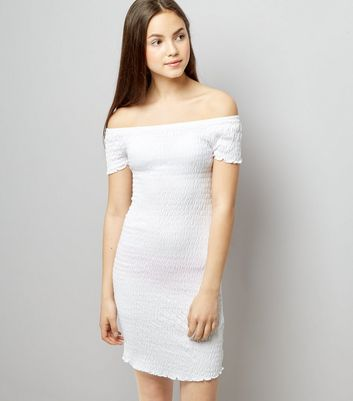 Teens White Shirred Bardot Neck Dress