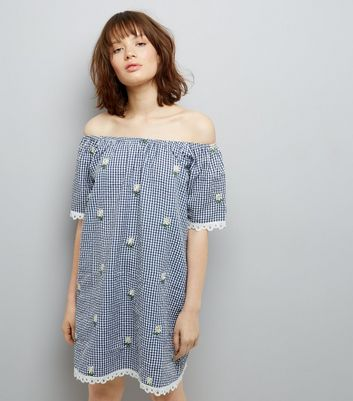 Navy Gingham Daisy Emroidered Bardot Neck Dress