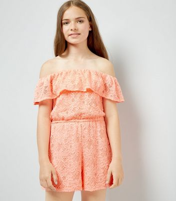 Teens Orange Lace Bardot Neck Playsuit