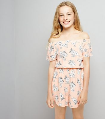 Teens Coral Floral Print Playsuit