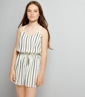 Teens White Stripe Playsuit