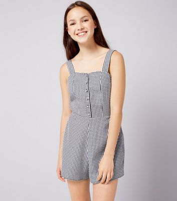 Teens Black Gingham Button Playsuit