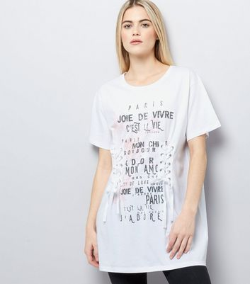 White French Slogan Print Lace-Up Longline T-Shirt