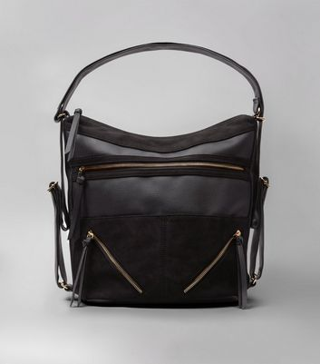 Black Zip Panel Shoulder Bag