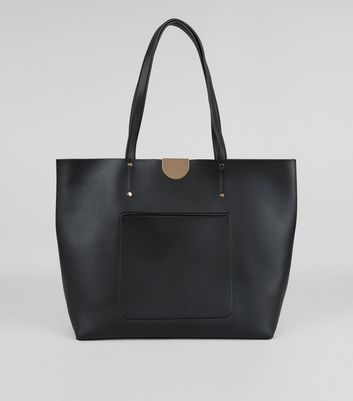 Black Patch Pocket Tote Bag