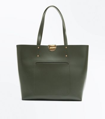 Khaki Patch Pocket Tote Bag
