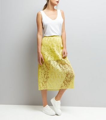 Yellow Lace Half Lined Midi Skirt