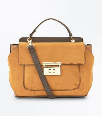 Mustard Colour Block Top Handle Bag