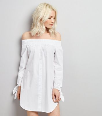Petite White Shirred Bardot Neck Shirt Dress