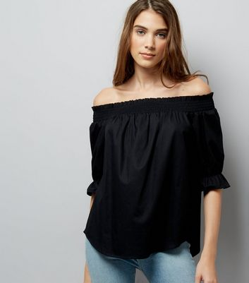 Black Dip Hem Bardot Neck Top