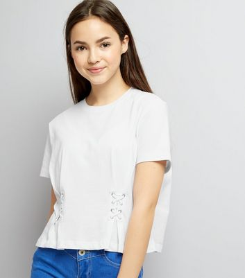 Teens White Lace Up Front T-Shirt